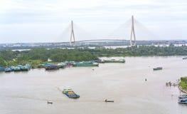 风景Ninh Kieu码头变动随着时间的推移显示 库存图片