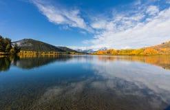 风景Teton秋天反射风景 图库摄影