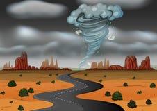 风暴击中了沙漠 库存例证