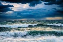 风暴海景视图  免版税图库摄影