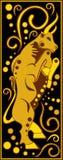 风格化中国占星黑和金的猪 库存图片