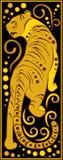 风格化中国占星黑和金的老虎 库存照片