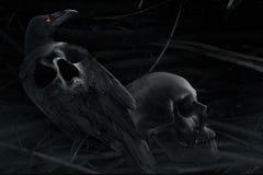 风格化乌鸦和头骨构成 库存图片
