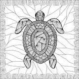 风格化乌龟样式zentangle 免版税库存图片
