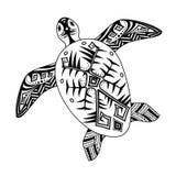 风格化乌龟,装饰在非洲或澳大利亚式 库存图片