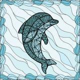 风格化传染媒介海豚,被隔绝的zentangle 免版税图库摄影