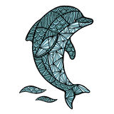 风格化传染媒介海豚,被隔绝的zentangle 库存照片