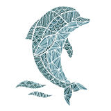 风格化传染媒介海豚,被隔绝的zentangle 库存图片