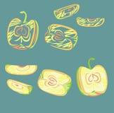 风格化切的苹果 图库摄影