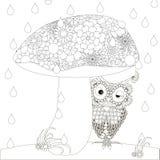 风格化单色猫头鹰掩藏在蘑菇下从雨 库存照片