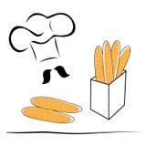 风格化厨师帽子和面包 库存例证