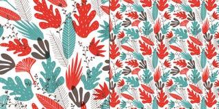 风格化叶子、分支和花的无缝的样式 库存例证