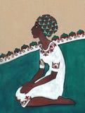 风格化图画 Negress坐她的在白色礼服的膝盖 免版税库存图片