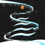 风格化圣诞树在装饰多雪的背景中 免版税库存图片