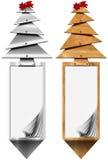 风格化圣诞树垂直横幅 免版税库存图片