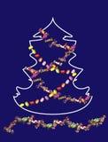 风格化圣诞树有蓝色背景 库存例证