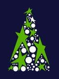 风格化圣诞树有蓝色背景 免版税库存图片