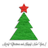 风格化圣诞树由皱纹纸制成 免版税库存照片