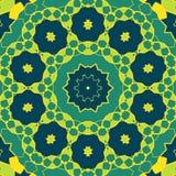 风格化坛场绿色 圆的装饰样式 在传染媒介做的几何无缝的圈子元素 精神或 皇族释放例证
