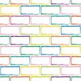 风格化多色砖墙的无缝的样式 免版税库存照片