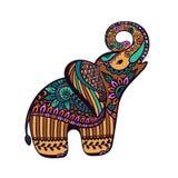 风格化大象有抽象五颜六色的背景,印地安mamm 库存照片