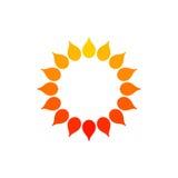 风格化太阳商标 太阳,花圆的象  在白色背景的被隔绝的橙黄红色商标 能使用象框架 免版税库存图片