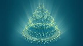 风格化异常的圣诞树,蓝色背景组成由黄色机械螺旋轮子 皇族释放例证