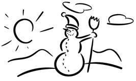 风格化微笑的雪人被隔绝 免版税库存图片