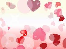 风格化心脏和星有桃红色和黄色背景 免版税图库摄影