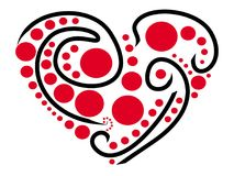 风格化心脏绘与黑线和红色小点 免版税库存图片