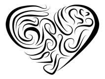 风格化心脏绘用在白色背景的不同的线 库存例证