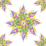风格化星无缝的花卉样式 免版税库存图片
