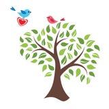 风格化树和鸟在爱 库存图片