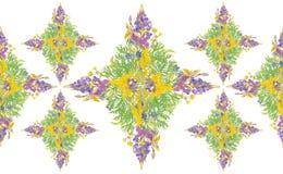风格化框架花卉无缝的样式-邀请的花束 免版税库存照片