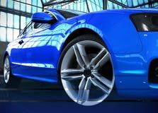 风格化汽车图象蓝色汽车身分在飞机棚3d回报ima 库存例证