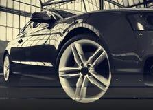 风格化汽车图象蓝色汽车身分在飞机棚3d回报ima 皇族释放例证