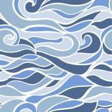 风格化波浪和曲线无缝的样式 库存例证