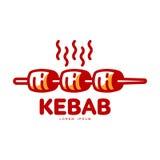 风格化热,新近地烤土耳其kebab商标模板 向量例证