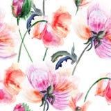 风格化牡丹花的水彩例证 免版税库存照片