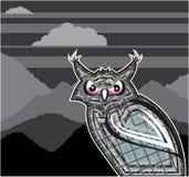 风格化猫头鹰黑暗夜 免版税库存图片