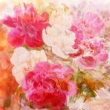 风格化白色和桃红色牡丹 免版税库存图片