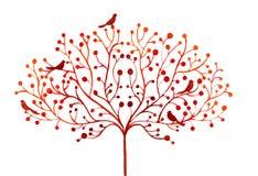 风格化秋天树和鸟的水彩抽象例证 免版税库存图片