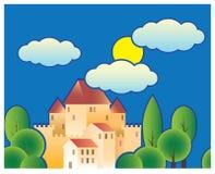 风格化童话城堡 向量例证