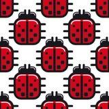 风格化红色瓢虫无缝的样式 免版税库存图片
