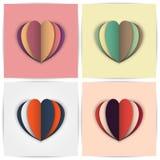 风格化纸心脏用不同的配色 库存图片