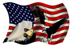 风格化美国国旗老鹰乐队 免版税库存照片