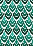 风格化羽毛抽象印刷品在绿色的在白色背景 免版税库存照片