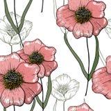 风格化艺术背景 桃红色传染媒介花卉模板 在轻的背景的土气无缝的样式 库存例证