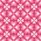 风格化花和心脏的无缝的样式 库存图片