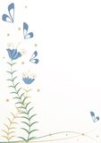 风格化花和蝴蝶 免版税库存图片